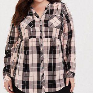 Torrid Size 1 Babydoll Checkered blouse